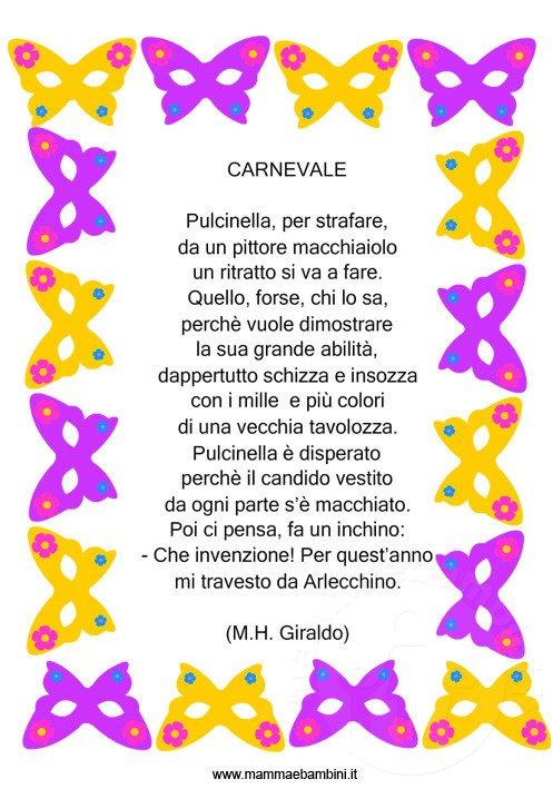 Tante poesie e filastrocche sul Carnevale con cornice