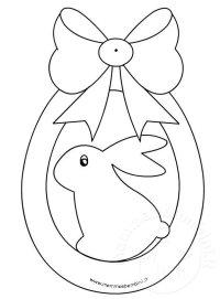 Disegno uovo di Pasqua con fiocco da colorare  Mamma e