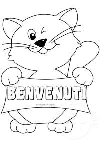 Disegno gatto da colorare con scritta benvenuti  Mamma e ...