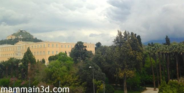 Atene: vista dalla camera dell'albergo su Voulì e Giardini Nazionali