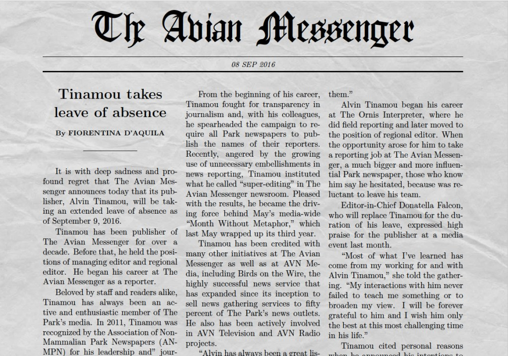 Avian Messenger front page