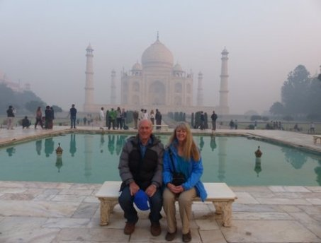 Susie and Bill at Taj Mahal in fog, Agra