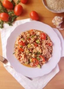 risotto con polpo pomodori daterini e zucchine