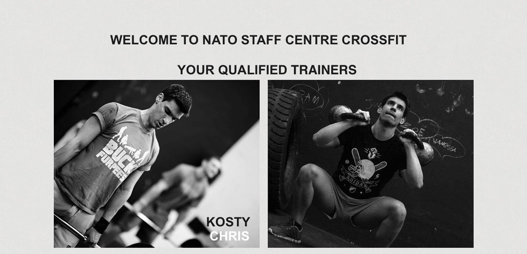Crossfit NATO's official website with photos of coaches Kosty and Christos. Source: http://www.natostaffcentrecrossfit.com/#!welcome-to-xfit/c69b
