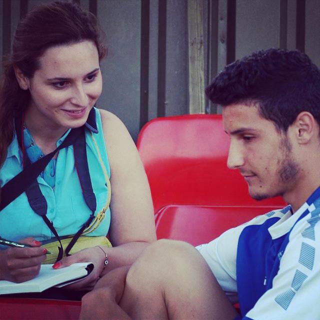 Interviewing Carlos Jose during a FC Deportivo Galicia pre-season friendly