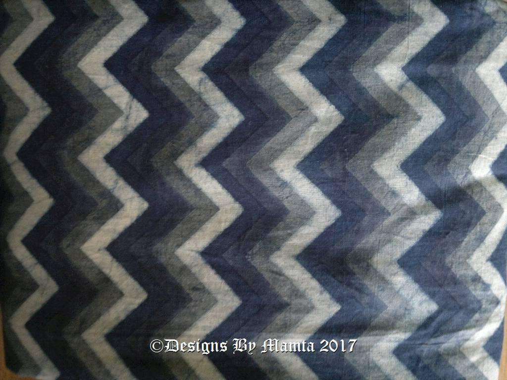 Dark Blue Chevron Ajrakh Print Fabric
