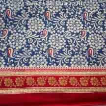 Floral Blue Cotton Saree Fabric