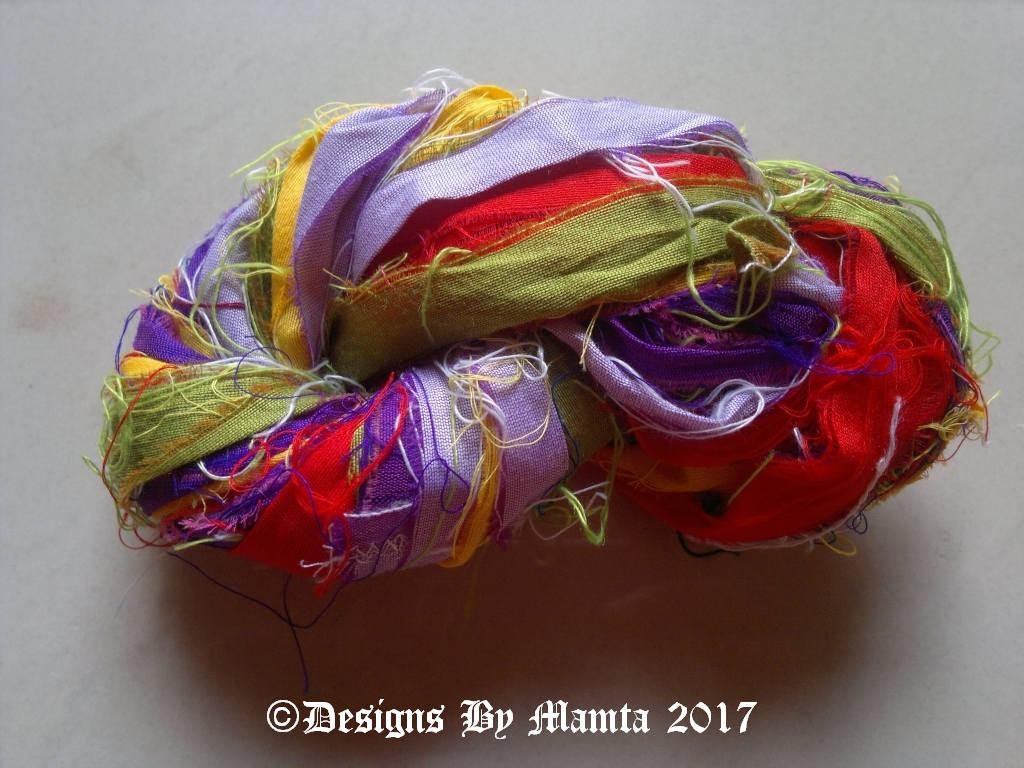 Iris Flower Silk Sari Ribbon Yarn