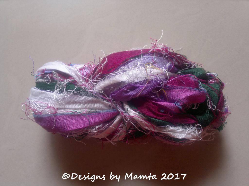 Lilac Flower Sari Ribbon Yarn