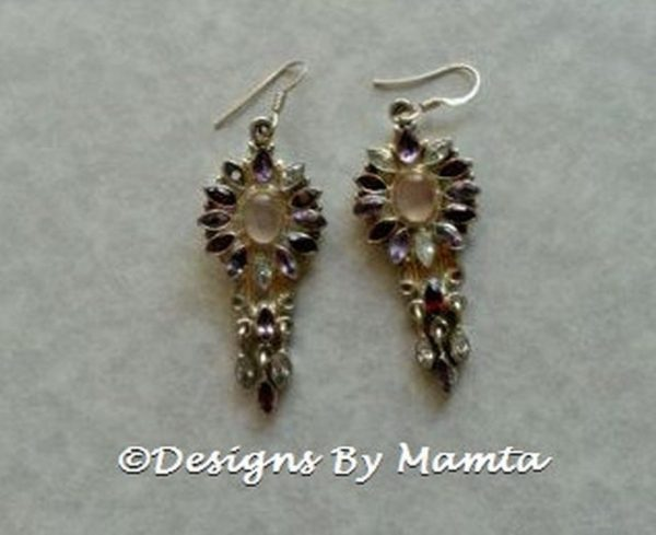 Multi Gemstone Earrings Sterling Silver