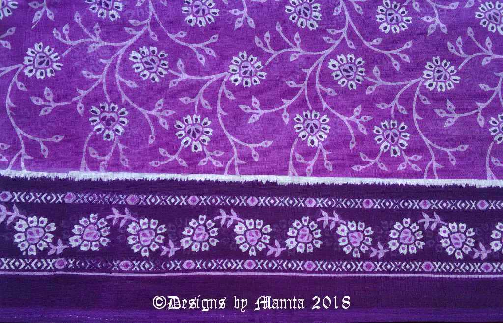 Purple Floral Print Sari Fabric
