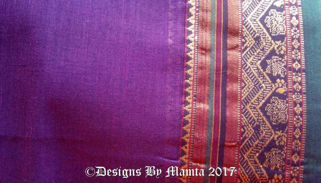 Purple Ilkal Saree Fabric With Border