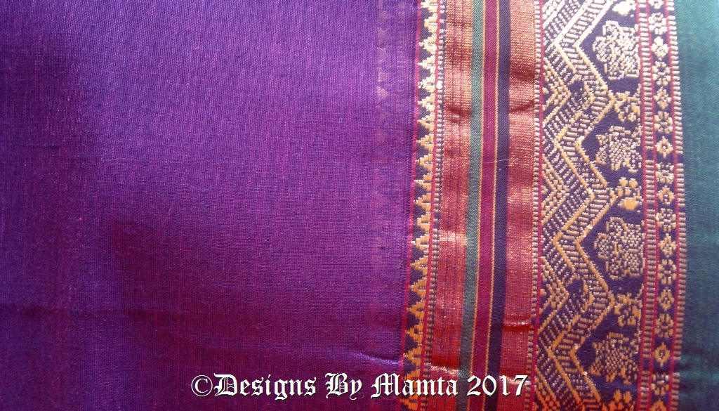 Purple Ilkal Saree Fabric With Border