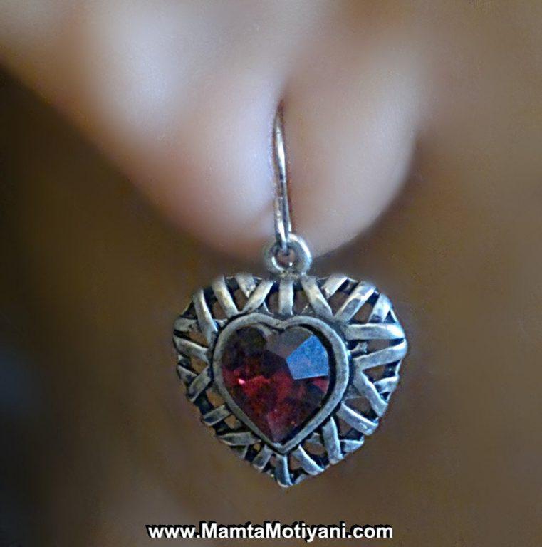 Red Heart Vintage Earrings