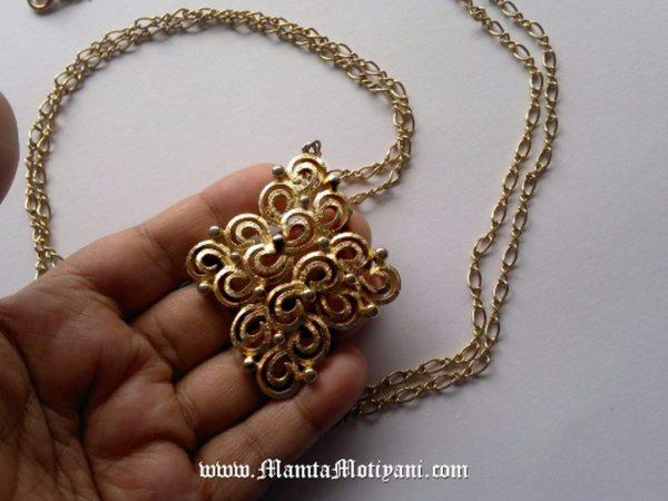 Vintage Costume Necklace With Diamond Shape Pendant