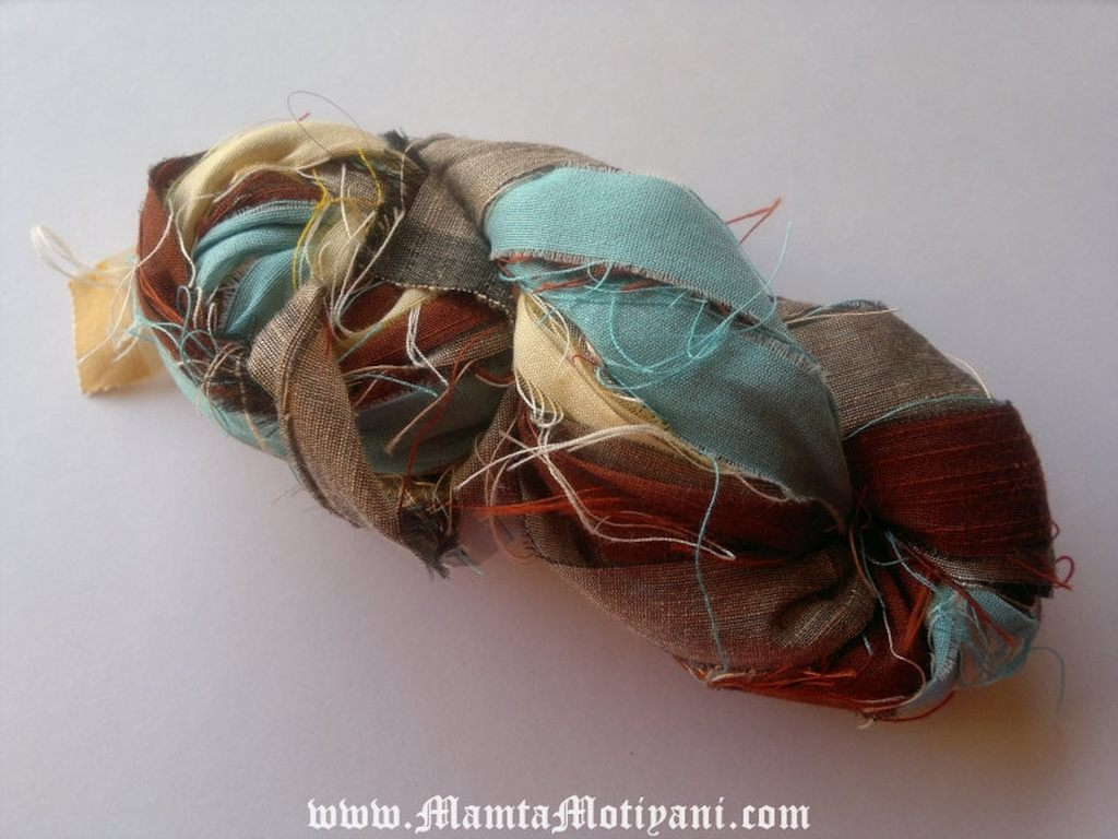 Wood And Sky Sari Silk Yarn Ribbon