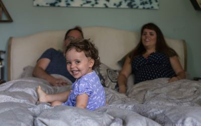 Documentary pregnancy photoshoot with a toddler at home in Highgate