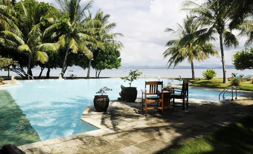 kolam renang di resort gangga island