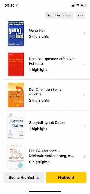 Buch Cover in der Übersicht in der highlighted App