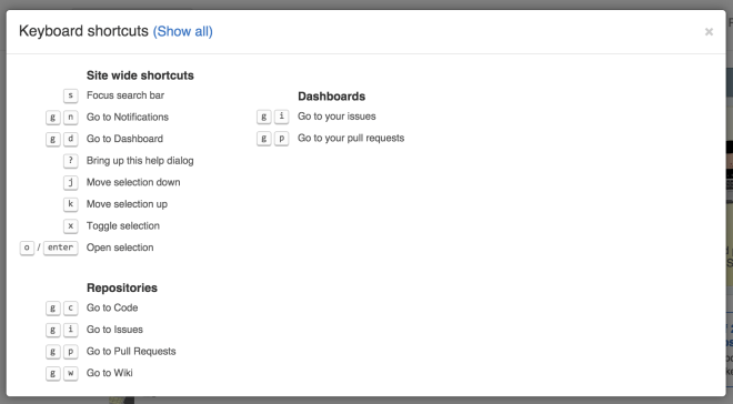 screen shot of keyboard shortcuts on GitHub.