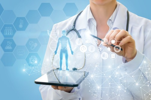Doctor shows a virtual hologram from your tablet.