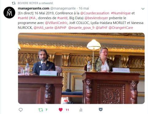 Intervention de Bénédicte BEVIERE BOYER capture d'écran sur Twitter Cour de Cassation 15 Mai 2019