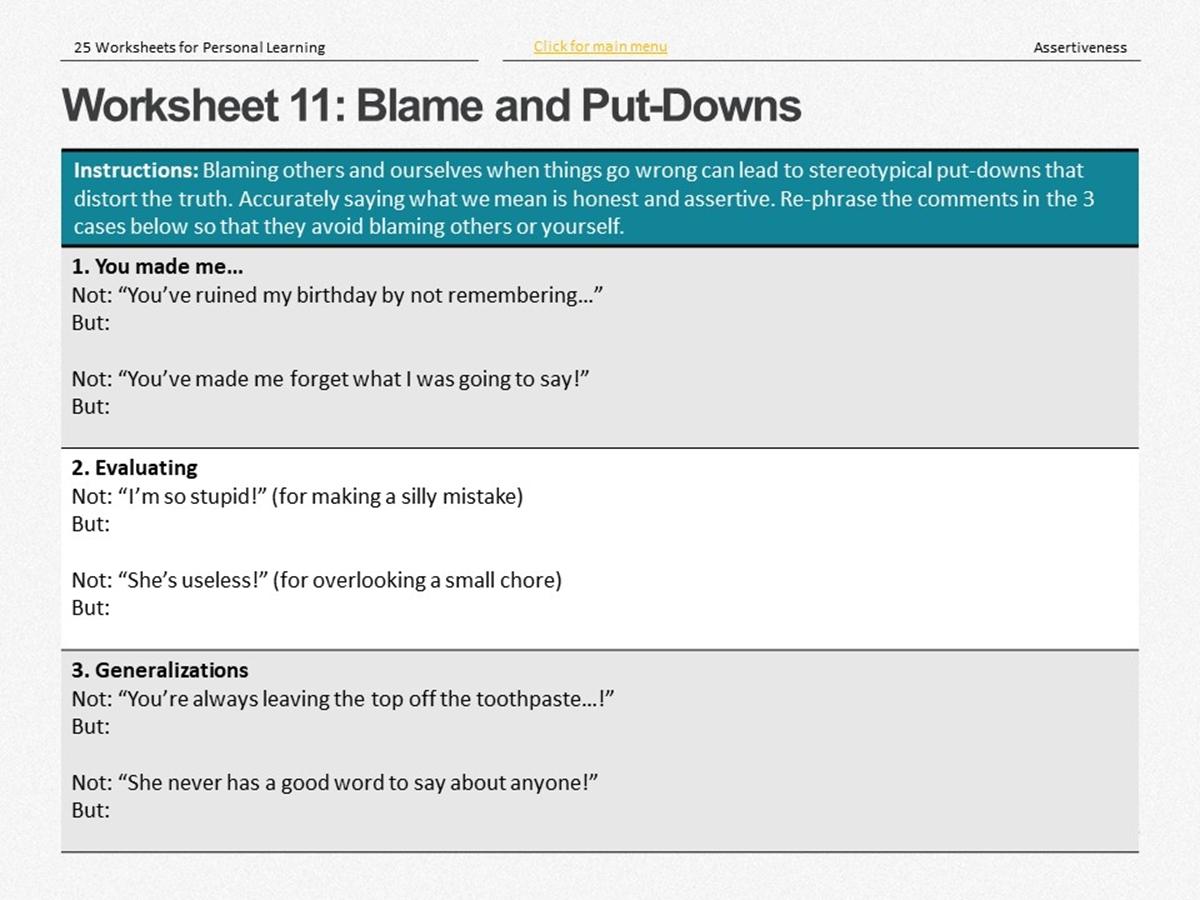 25 Course Worksheets Assertiveness