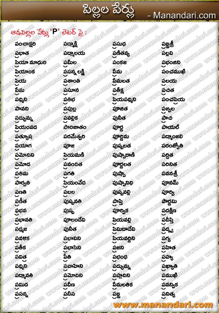 Baby Girls Names starting with P Letter - Manandari.com