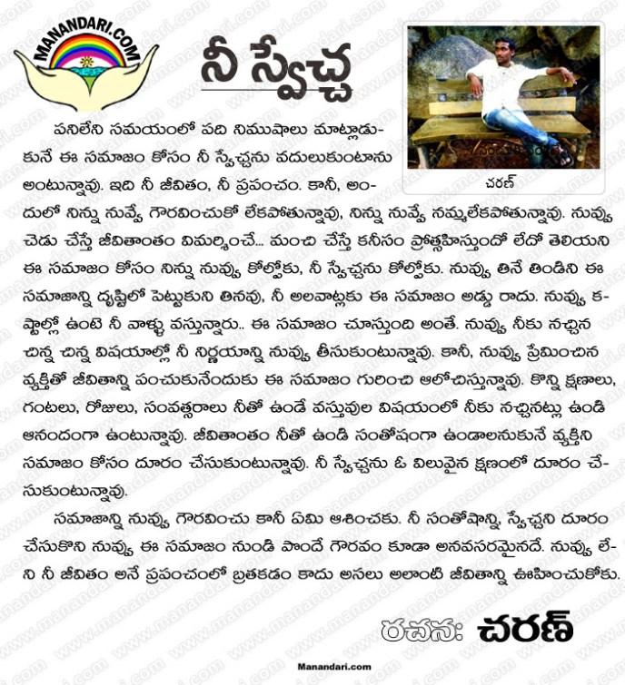 Nee Sweccha - Telugu Article