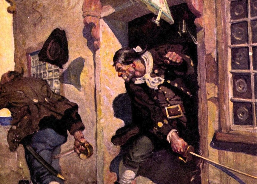 """Black Dog being chased from the Admiral Benbow Inn by Captain Billy Bones"" by N.C. Wyeth. From Treasure Island, 1911 (cropped)"