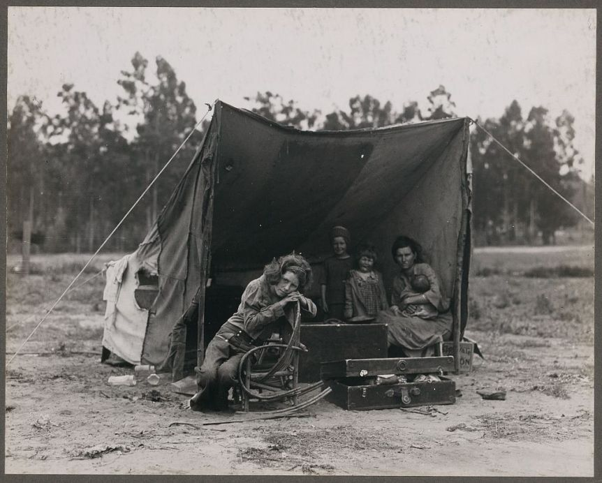 Nipomo, Calif. March 1936. Migrant agricultural worker's family. By Dorothea Lange. Via Library of Congress.