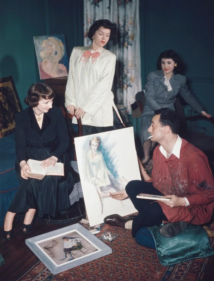 Fashion painting of models. 52nd Street New York, N.Y., ca. 1948. William P. Gottlieb. Public domain.