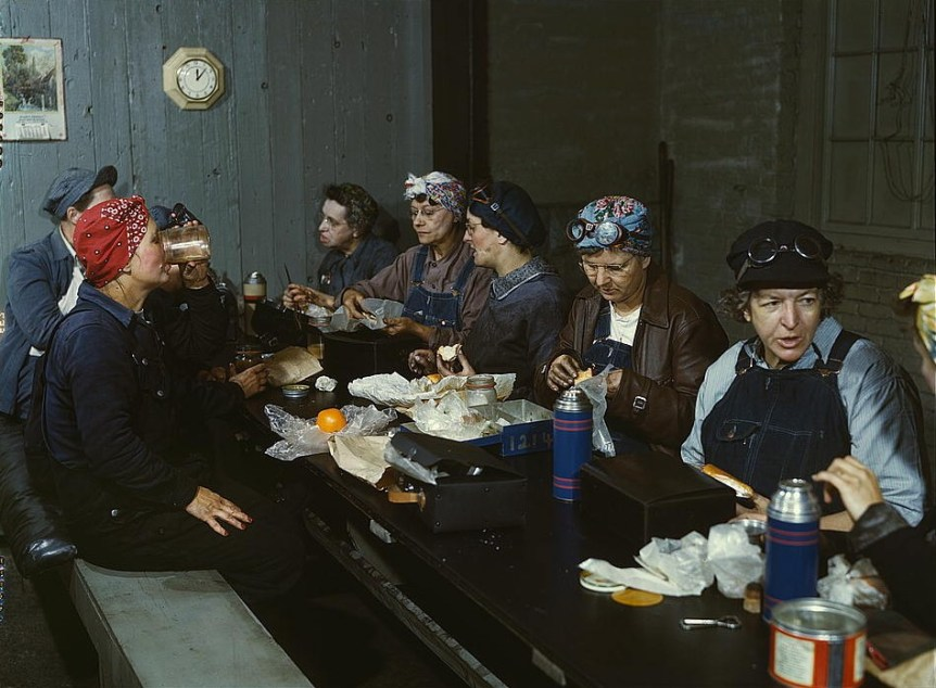 Women workers employed as wipers in the roundhouse having lunch in their rest room, C&NW RR-1943 Clinton, IA (LOC) Delano, Jack