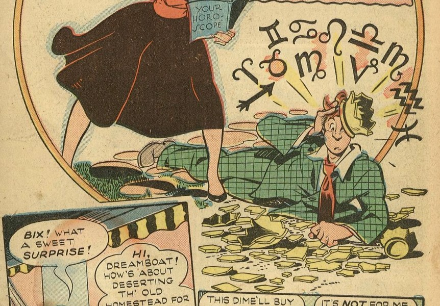 """Confusion in Bix. Splash page from """"Heavens to Betsy"""", -Club """"16"""" Comics-, Issue 1, page 1"""