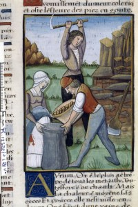 Medieval men and woman mining for gold, from The Book of Simple Medicines, ca. 1520-1530
