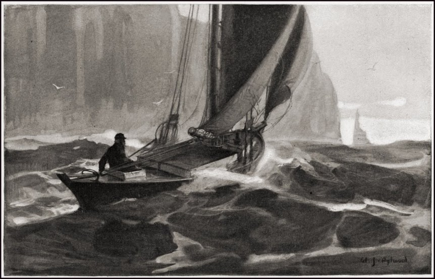 Man in a storm sailing a small boat into the horizon