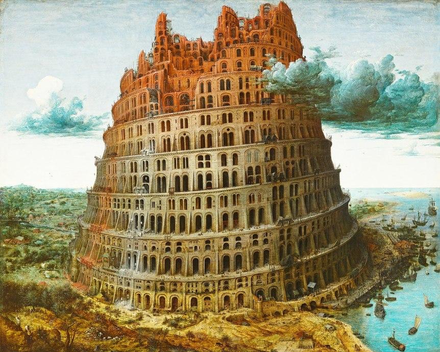Tower of Babel (Rotterdam) by Pieter Bruegel. Via Wikimedia Commons. Public Domain.