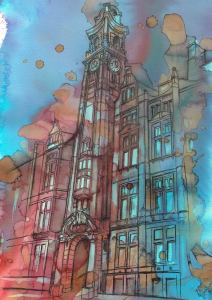 Manchester fine art print featuring the Palace Hotel in the city centre, by local artist Kate O'Brien