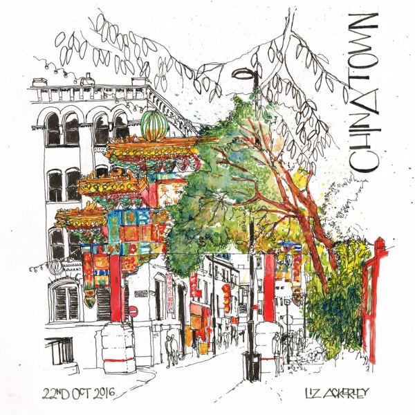 Fine art illustration of Manchester's China Town by local illustrator Liz Scribbles