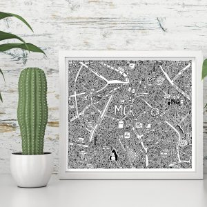 Doodle map of Manchester by local artist Dave Draws. Manchester art, poster, wall art, maps, illustrations.