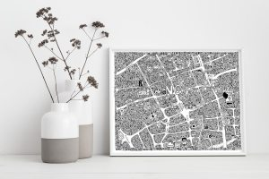 Doodle map of the Northern Quarter in Manchester by local artist Dave Draws. Manchester art, poster, wall art, maps, illustrations.