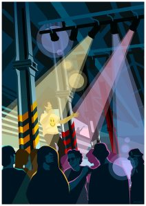 Hacienda themed art print showing people dancing inside the FAC51 nightclub. Wall art, poster by Stephen Millership.