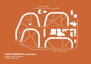 Manchester fine art print of Hulme Crescents by architect h. wilson and I. womersley.