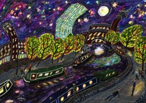 Art print of Manchester's castlefield area and beetham tower at night time by local painter Michael Gutteridge