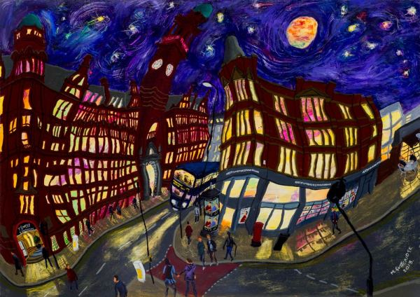 Fine art print of the Cornerhouse on Oxford Road by night by local painter Michael Gutteridge.