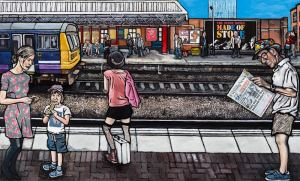 Illustration print of Manchester's train station featuring a poster of The Stone Roses: Made of Stone' by Matt Wilde