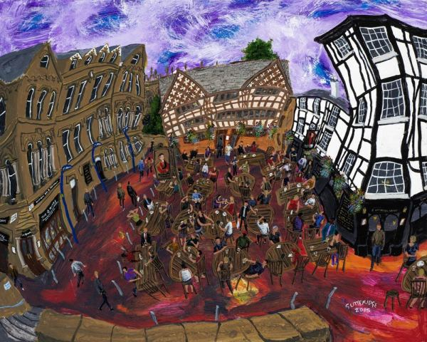 Fine art print by Manchester based artist Michael Gutteridge of the Shambles Square in Manchester, England.
