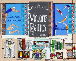 Illustration of Manchester's Victoria Baths by local artist Lucy Burgess