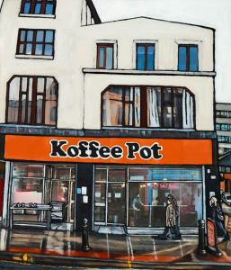 Art print of Manchester's famous cafe Koffee Pot in the northern quarter by local artist Matt Wilde