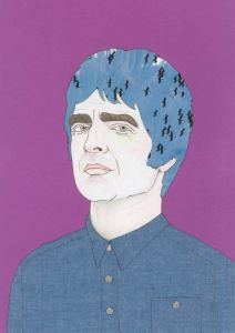 Purple background portrait of Noel Gallagher from Oasis by Manchester based artist Dunstan Carter